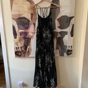 Free People Tiered Strappy Maxi Dress Black Floral